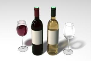 Lahve a sklenice vína